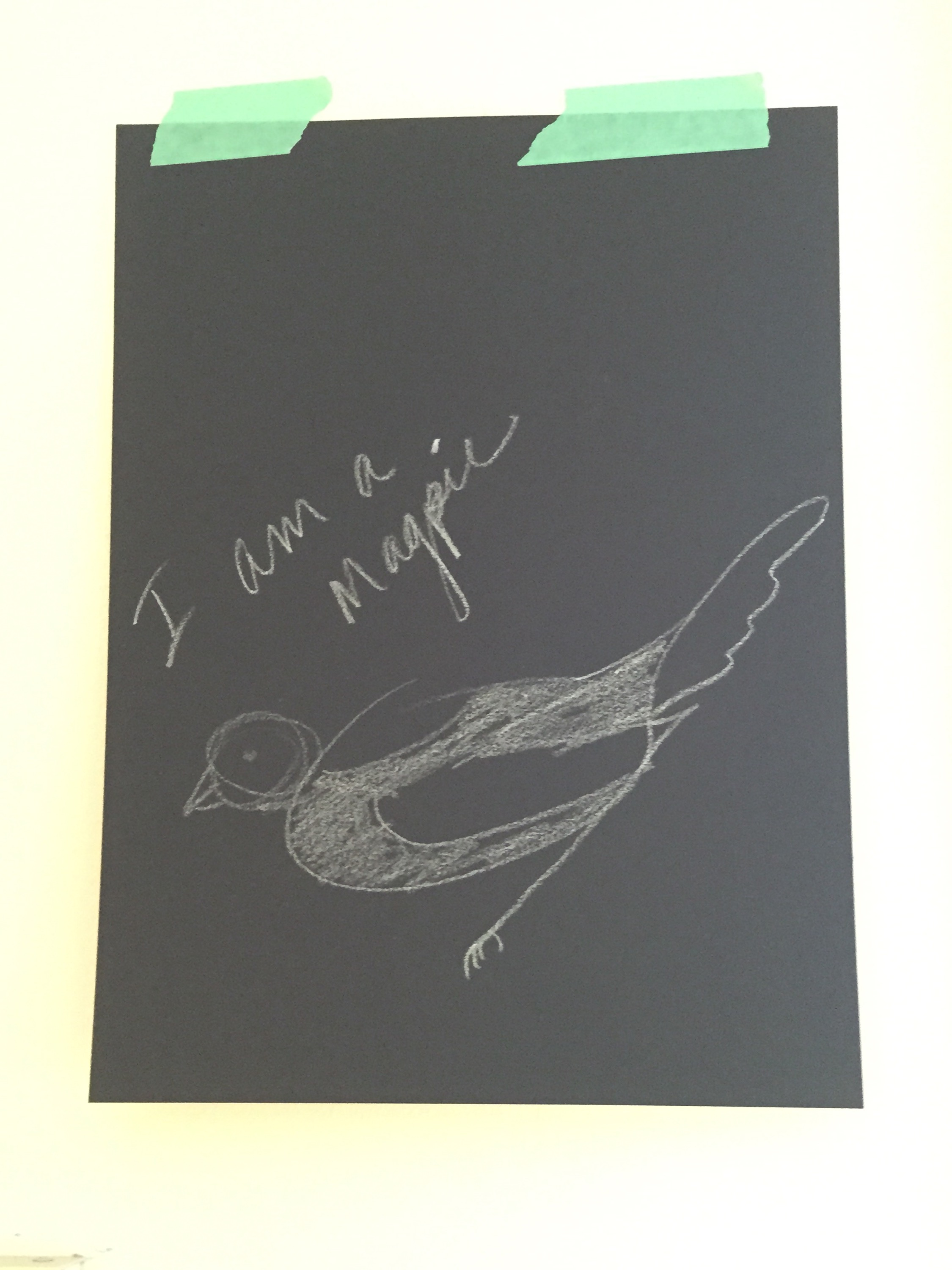 How-To Sketch, I am a Magpie - china marker on black paper
